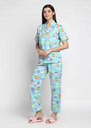 Hot Air Balloon Print Short Sleeve Women's Night Suit