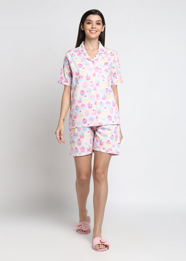 Cupcake Print Shirt & Shorts Women's Set