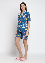 Wonder Girl Print Shirt & Shorts Women's Set