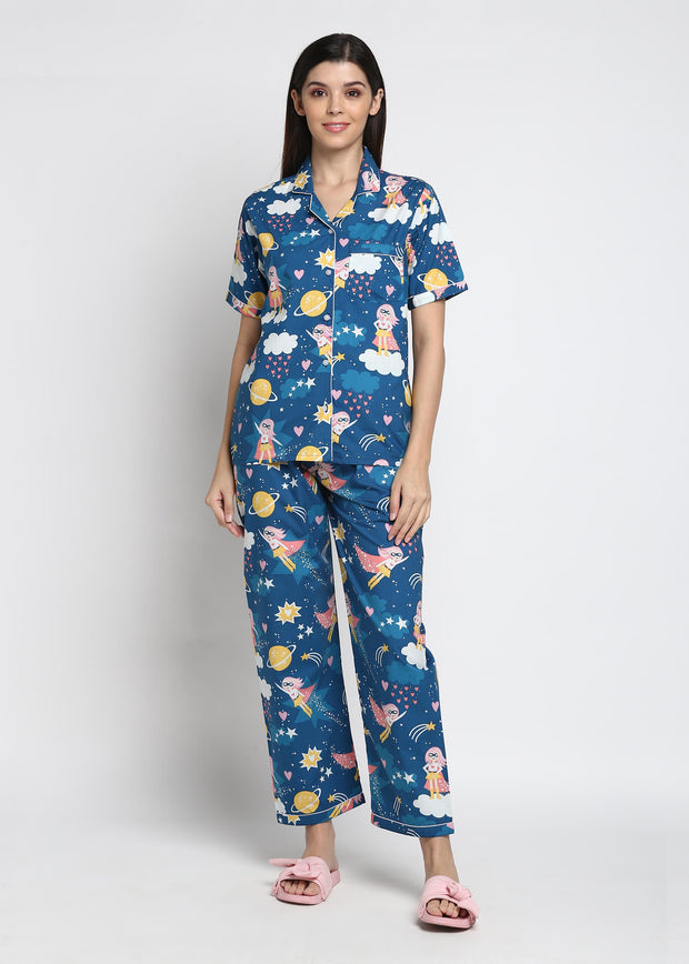 Wonder Girl Print Short Sleeve Women's Night Suit