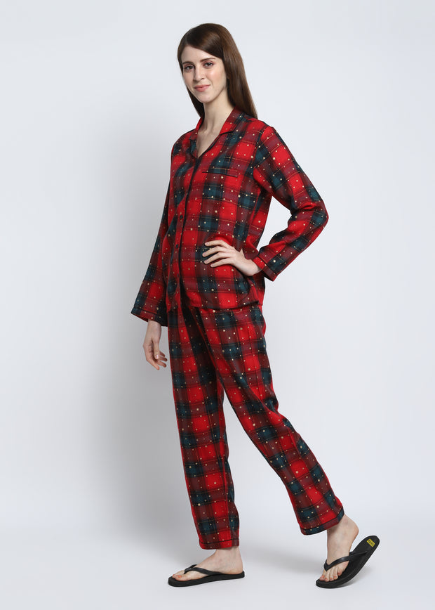 Red Check Star Gold Print Cotton Flannel Long Sleeve Women's Night Suit