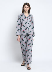 Green Christmas Dinosaur Print Cotton Flannel Long Sleeve Women's Night Suit
