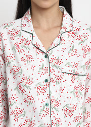 Christmas Bloom Print Cotton Flannel Long Sleeve Women's Night Suit