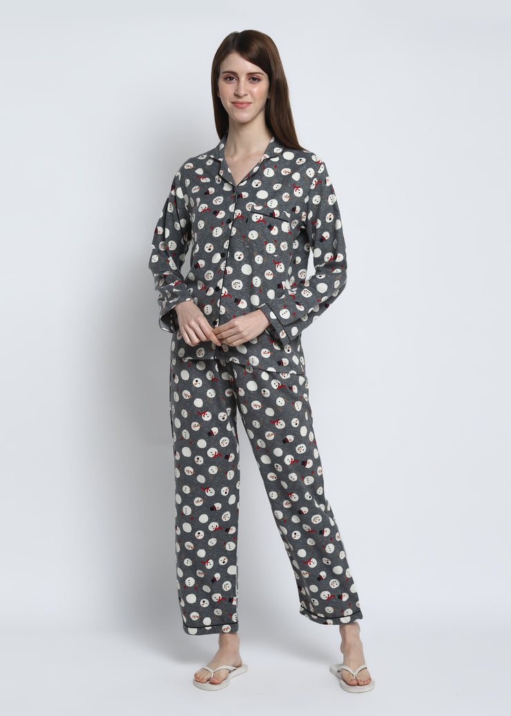 Snowman Grey Print Cotton Flannel Long Sleeve Women's Night Suit