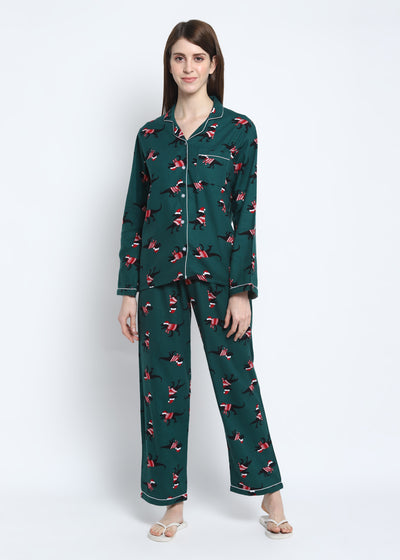 Dinosaur On Green Print Cotton Flannel Long Sleeve Women's Night Suit