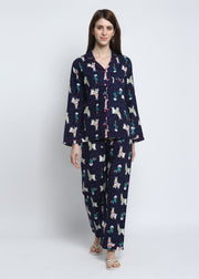 LLama Print Cotton Flannel Long Sleeve Women's Night Suit
