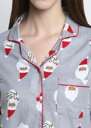 Santa Cutie Print Cotton Flannel Long Sleeve Women's Night Suit