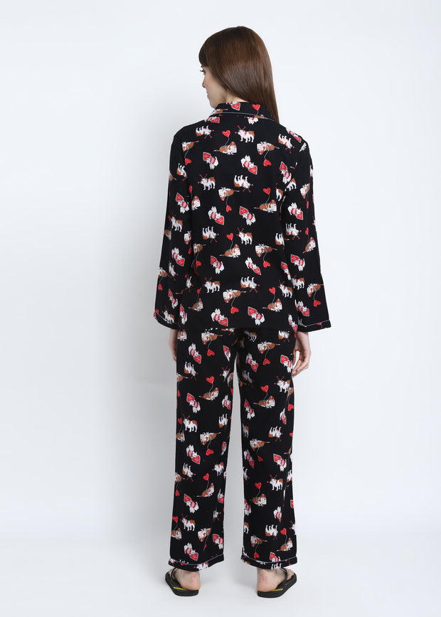 I Love You Print Cotton Flannel Long Sleeve Women's Night Suit