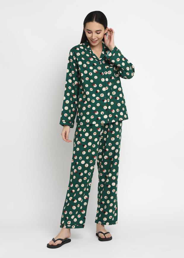 Snowman Green Print Cotton Flannel Long Sleeve Women's Night Suit