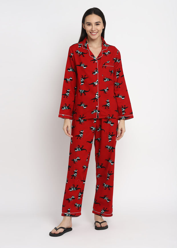 Dinosaur Red Print Cotton Flannel Long Sleeve Women's Night Suit