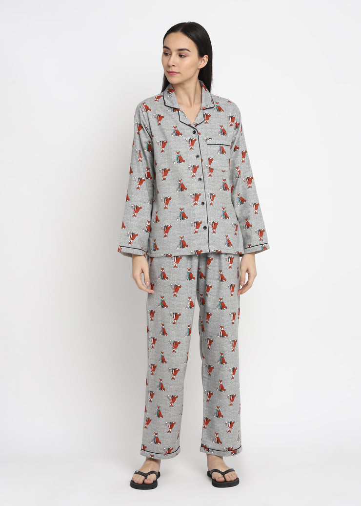 Fox Me Print Cotton Flannel Long Sleeve Women's Night Suit