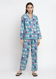 Rabbit Print Cotton Flannel Long Sleeve Women's Night Suit