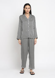 Herringbone Satin Print Long Sleeve Women's Night Suit