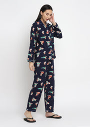 Dog And Cat Print Cotton Flannel Long Sleeve Women's Night Suit