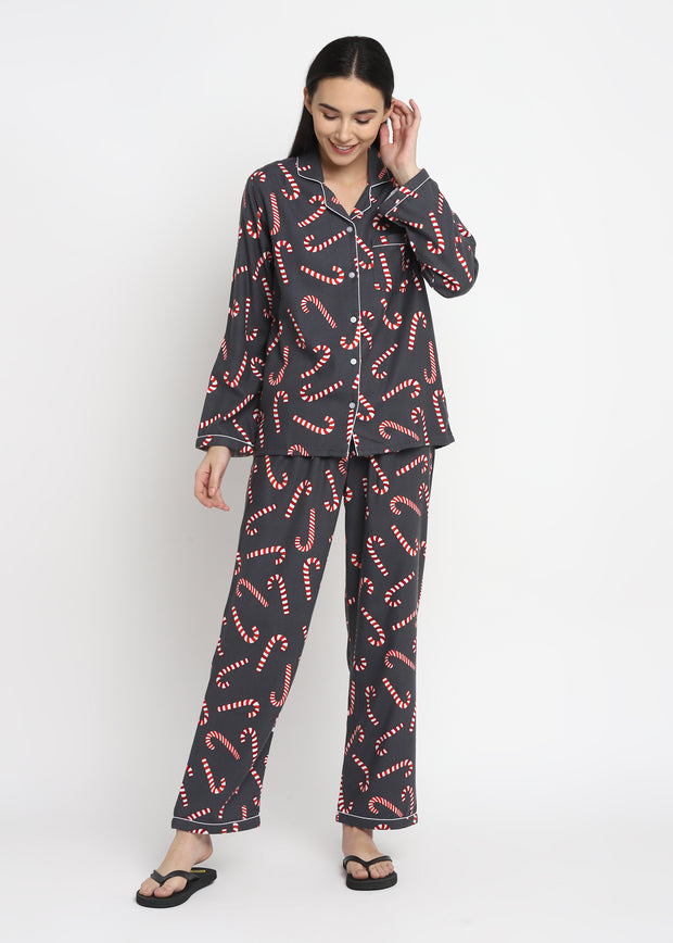 Big Candy Cane Print Cotton Flannel Long Sleeve Women's Night Suit