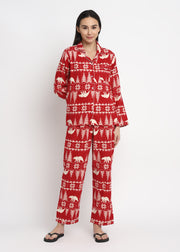 Winterland Print Cotton Flannel Long Sleeve Women's Night Suit
