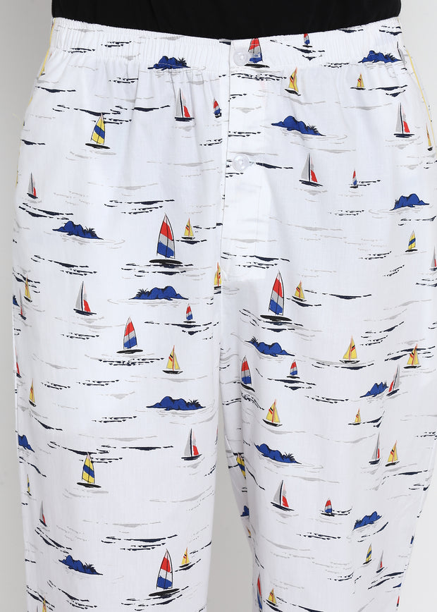 Lets Sail Away Print Men's Pyjama Bottoms