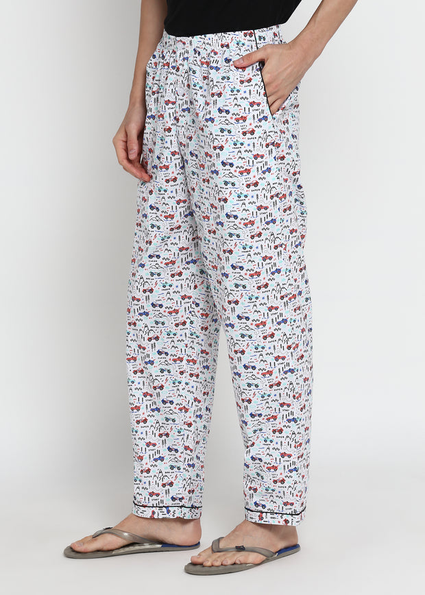 Lets Race Print Men's Pyjama Bottoms