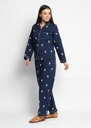 Snowman Print Long Sleeve Women's Night Suit