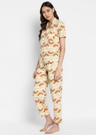 Rainbow Print Short Sleeve Nightsuit