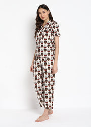 Cupcake Print Short Sleeve Nightsuit