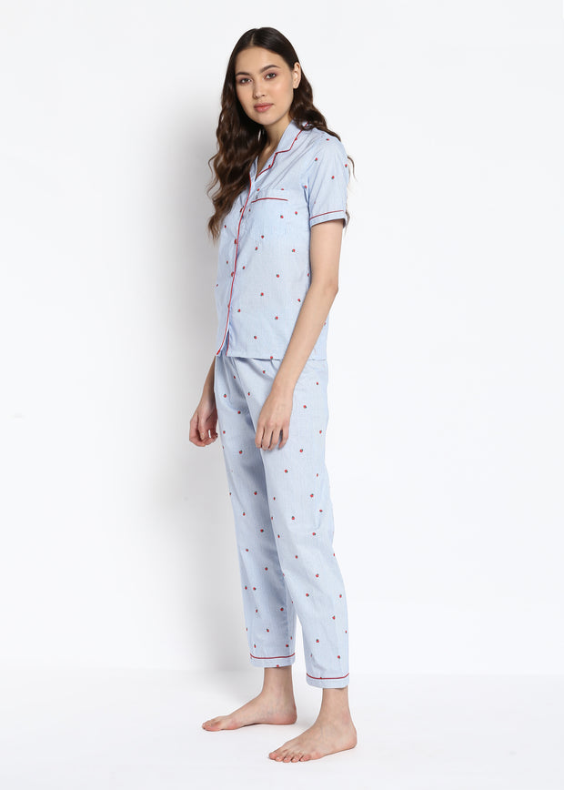 Strawberry Striped Print Short Sleeve Nightsuit