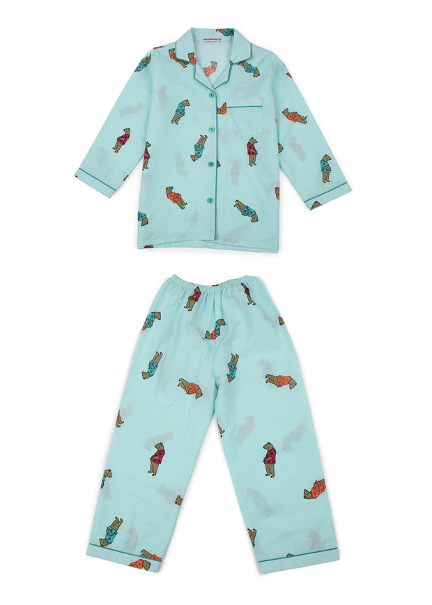 Dear Teddy Print Long Sleeve Kids Night Suit