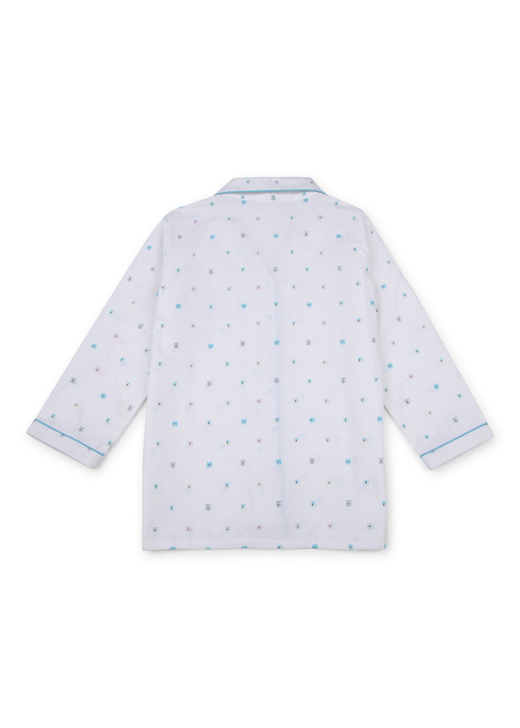 Tiny Teddy Print Long Sleeve Kids Night Suit