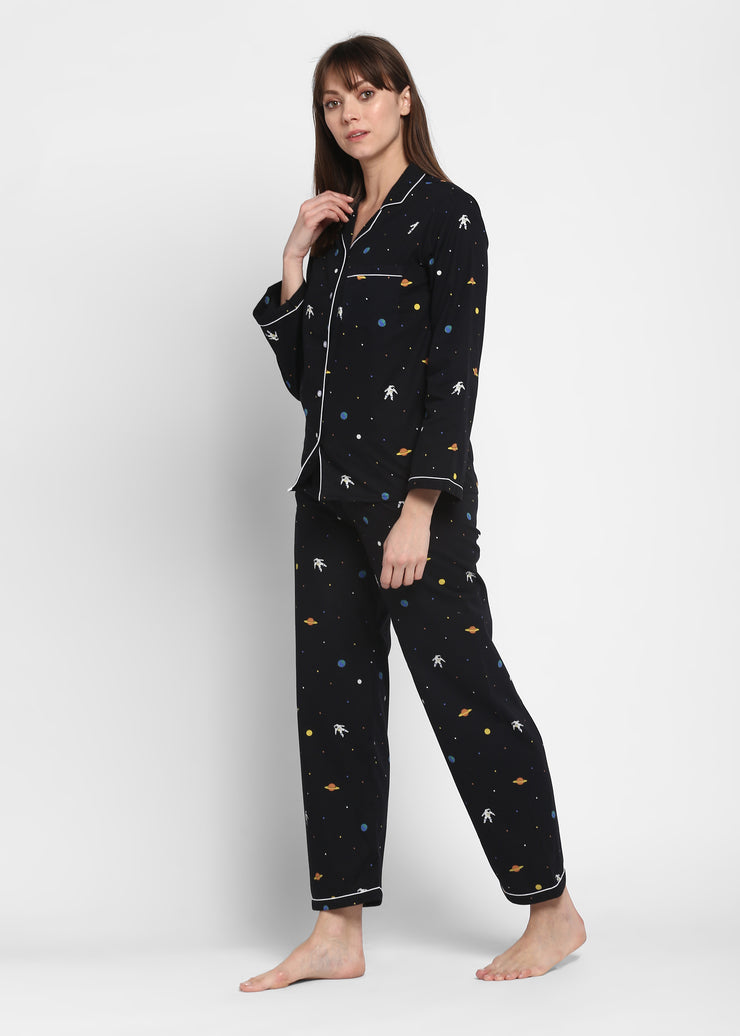 Space Print Long Sleeve Women's Night Suit