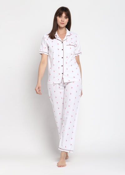 Pink Flamingo Print Short Sleeve Nightsuit