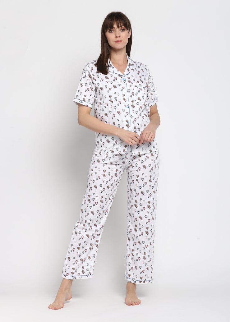 Hot Air Balloon Print Short Sleeve Nightsuit