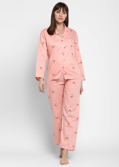 Orange Flamingo on Pink Print Long Sleeve Women's Night Suit
