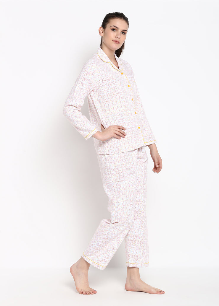 Colorful Dot Print Long Sleeve Nightsuit