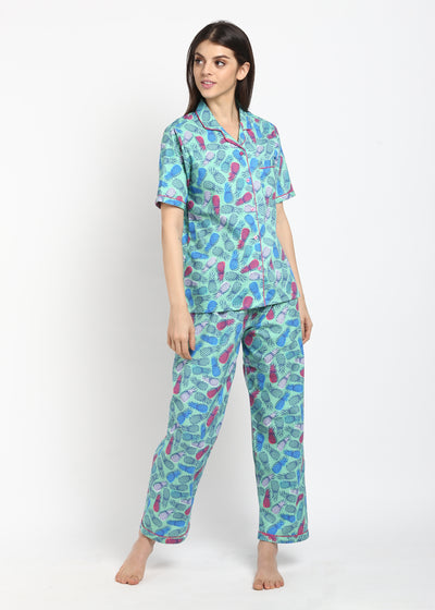 Pineapple Print Short Sleeve Nightsuit