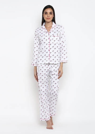 Pink Flamingo Hat Print Long Sleeve Women's Night Suit