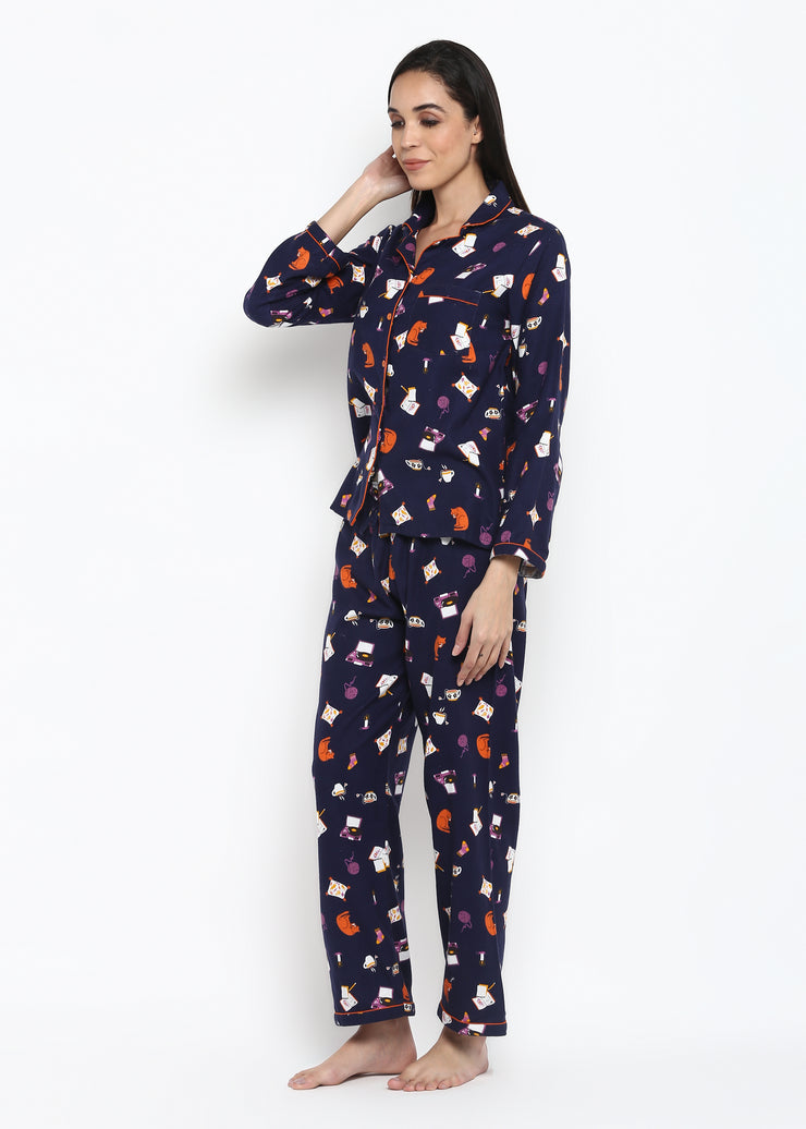 Kitty Candle Print Long Sleeve Women's Night Suit