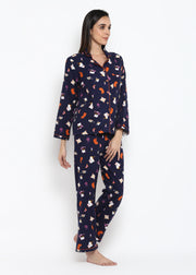 Kitty Candle Print Long Sleeve Nightsuit