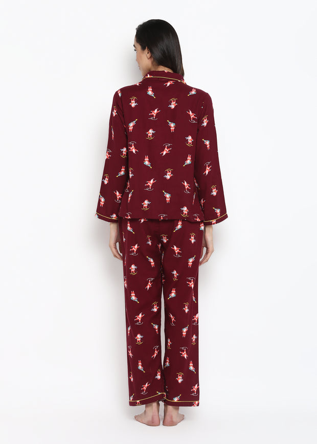 Maroon Santa Print Long Sleeve Women's Night Suit