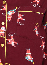 Maroon Print Long Sleeve Nightsuit
