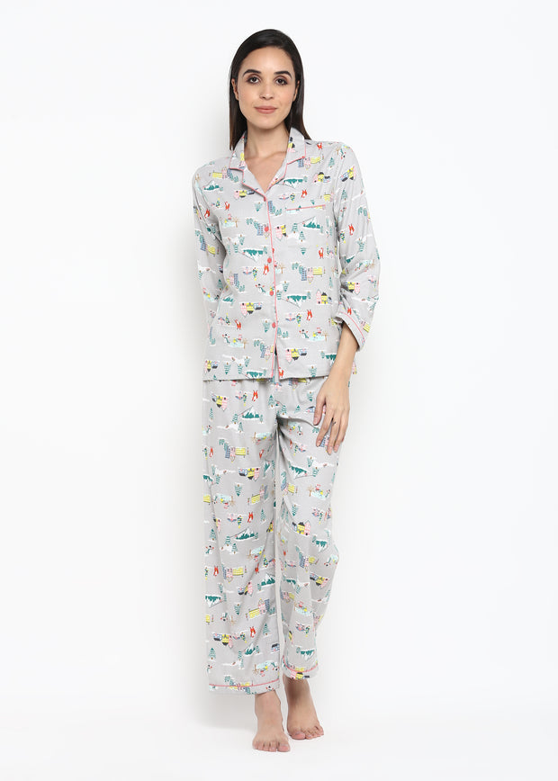 Santa City Print Long Sleeve Nightsuit