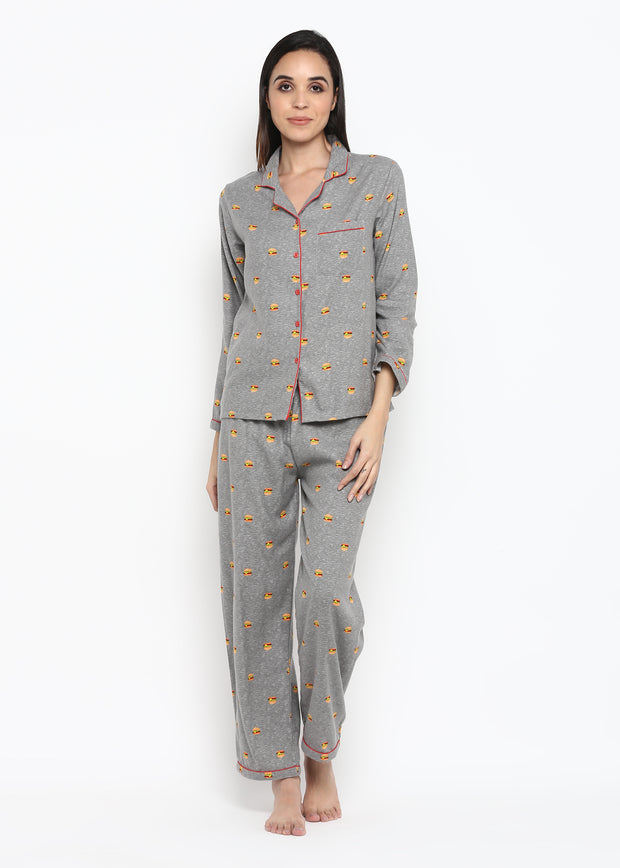 Burger Print Long Sleeve Nightsuit