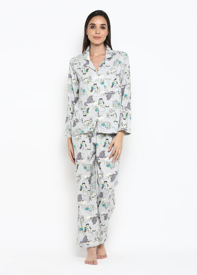 Grey Kitty Print Long Sleeve Women's Night Suit