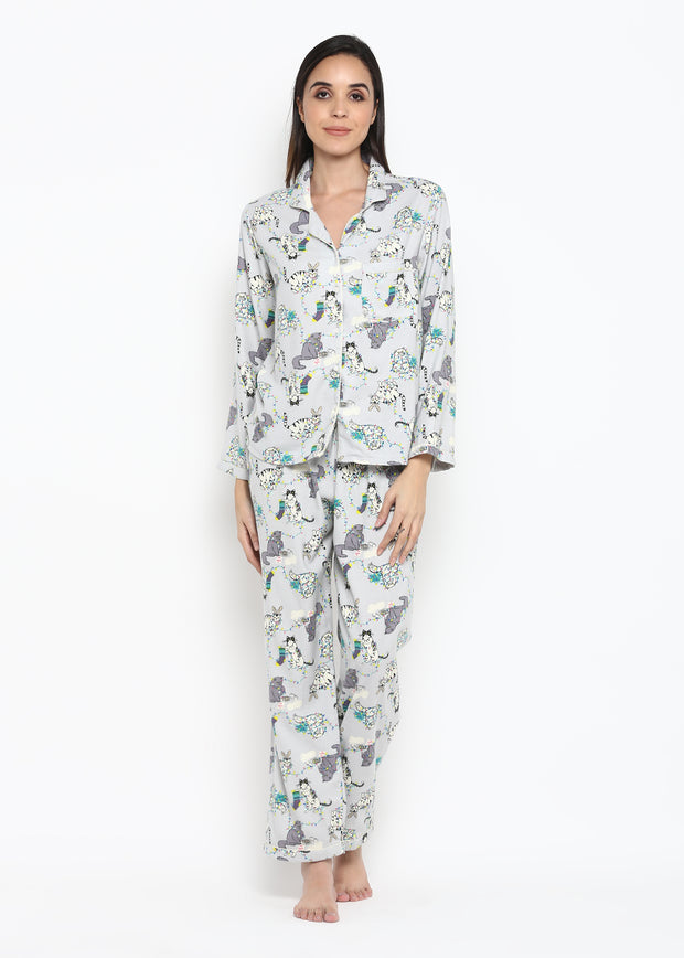 Grey Kitty Print Long Sleeve Nightsuit