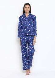 Blue Christmas Print Long Sleeve Women's Night Suit