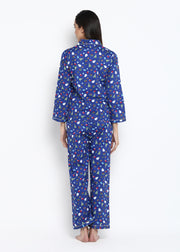 Blue Christmas Print Long Sleeve Nightsuit