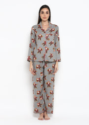 Santa Gingerbread Print Long Sleeve Women's Night Suit