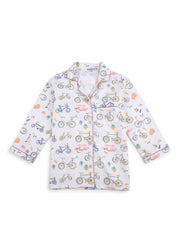 Bicycle Print Long Sleeve Kids Night Suit