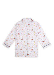 Dog Print Long Sleeve Kids Nightsuit