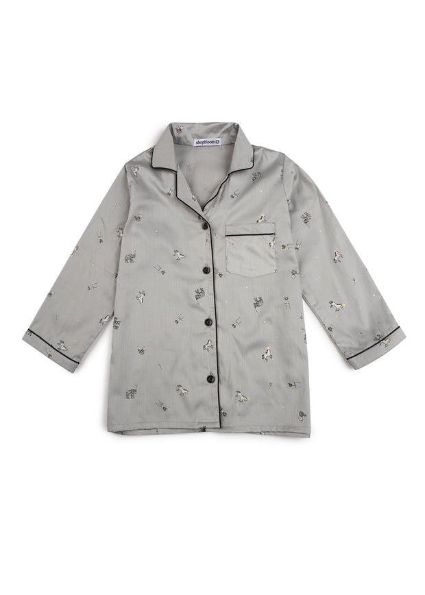 Grey Circus Print Long Sleeve Kids Nightsuit