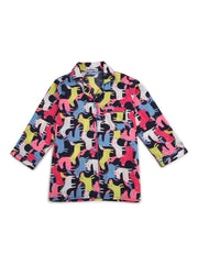 Colorful Unicorn Print Long Sleeve Kids Nightsuit